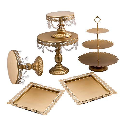 6Pcs Golden Metal Crystal Cake Holder Cupcake Stand Wedding Party Display by Tuningsworld (Image #3)