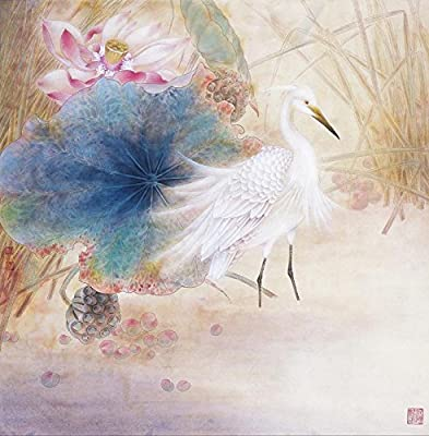 Egret in Lutos_2 Oil Painting Reprodution. Based on Famous Traditional Chinese Realistic Painting. (Unframed and Unstretched).