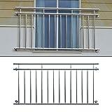 ECD Germany Französischer Balkon 184 x 90 cm Edelstahl Glänzend Balkongeländer Stabgeländer Geländer Balkonschutz Fensterschutz Balkongitter Fenstergitter