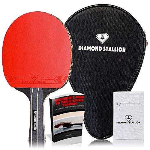 Diamond Stallion High Tech Ping Pong Paddle Premium All Round Table Tennis Racket Pro Level Ergonomic Table Bat To Enhance Your Table Tennis Skills BONUS: Racket Case + Zipper Wristband + E-BOOK