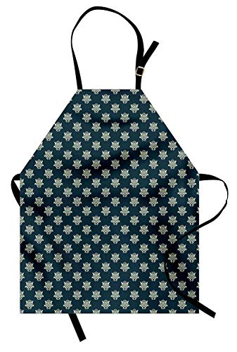 - Victorian Aprons, Adjustable Bib Kitchen Cooking Apron for Women Men Chef Professional for Baking Gardening - Damask Style Swirls and Foliage Leaves Pattern with Arabesque Motifs, Dark Blue Pale Green
