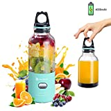 Portable Blender, Hurrikane 2-in-1 Personal Smoothie Blender/Juicer Cup with 3D 6 Blades, 500 Milliliter, USB Rechargeable, Self-Cleaning, for Home, Office or Travel (Blue, 50w 4000aMh)