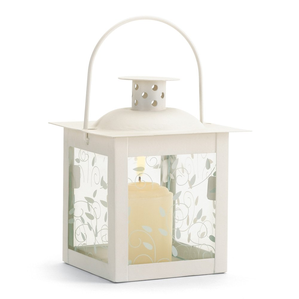 Ivory Curling Vine Accents Glass Lantern Pillar Candle Holders Small