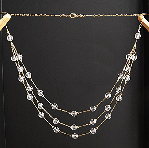 Three Gold Strand 14k (Genuine Rock Crystal Gemstone Faceted Bead / Ball / Sphere 14k Yellow Gold Filled GF 3 Layered Necklace)