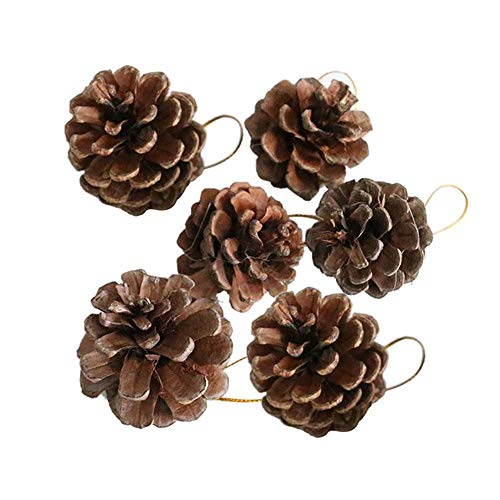 Pausseo 6Pcs/Set Small Pine Cone Pendant Set Merry Christmas Ornament Natural Baubles Party Xmas Tree Decorations Hanging Pendant Party Decoration Party Gift Festival Art Home Decor Kit ()