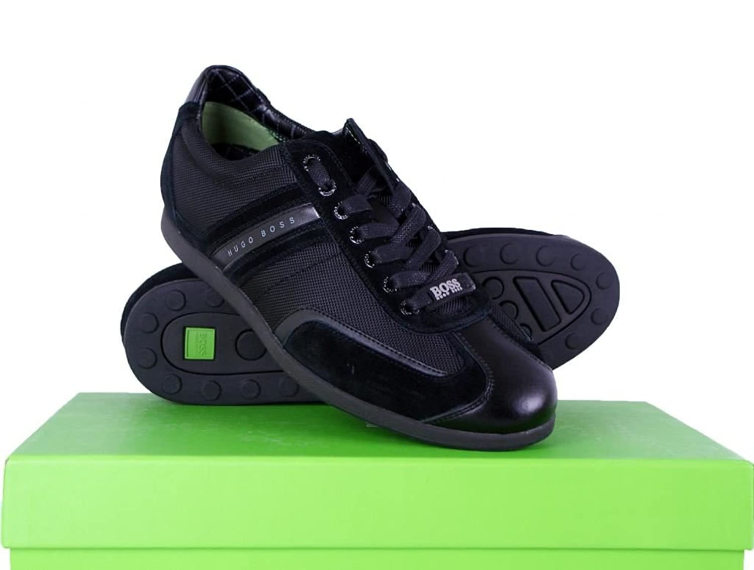 Hugo Boss Green Stiven Real Leather Sneakers Trainer Shoes in Black UK 10:  Amazon.co.uk: Shoes & Bags