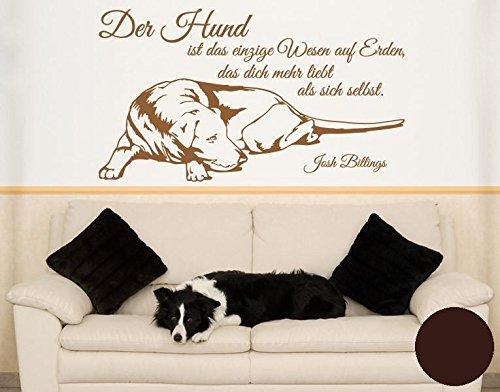 Klebefieber Wandtattoo der Hund ist Das Einzige Wesen. B x H  120cm x 68cm Farbe  Schokobraun