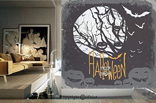 Decorative Privacy Window Film/Halloween Themed Image with Full Moon and Jack o Lanterns on a Tree Decorative/No-Glue Self Static Cling for Home Bedroom Bathroom Kitchen Office Decor Black White -