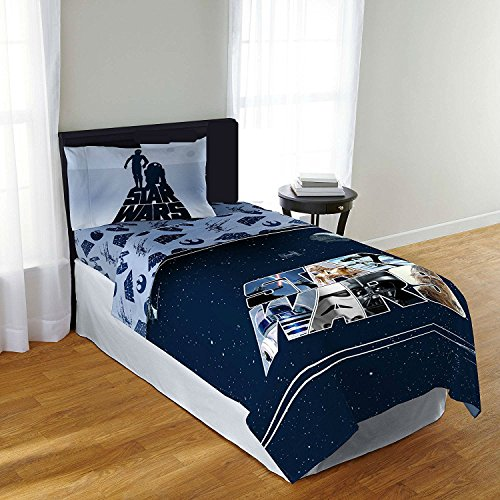 Star Wars Twin Bed Comforter and Sheet Set - 4 Pieces Includes Reversible Comforter, Flat Sheet, Fitted Sheet, and 1 Standard Sized Pillowcase (R2d2 Trash Can Costume)
