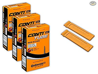 """Continental Race 28"""" 700x20-25c Bicycle Inner Tubes - 42mm Long Presta Valve (Pack of 3 w/ 2 Conti Tire Levers)"""