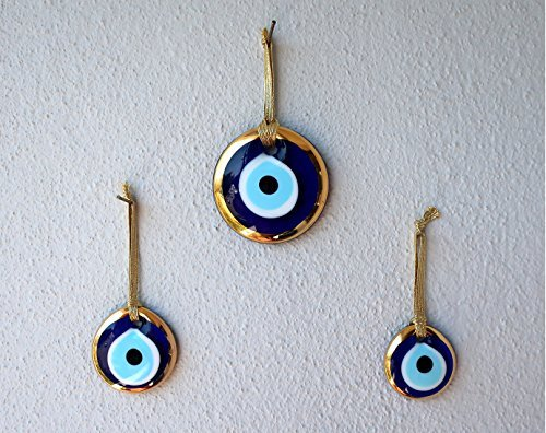 Gold Gilt Handmade Evil Eye Glass Charm decorative Turkish - Greek - Jewish - Christian Christmas ornament (1.5''-2''-2.7'' Set of Three) by Ebsem
