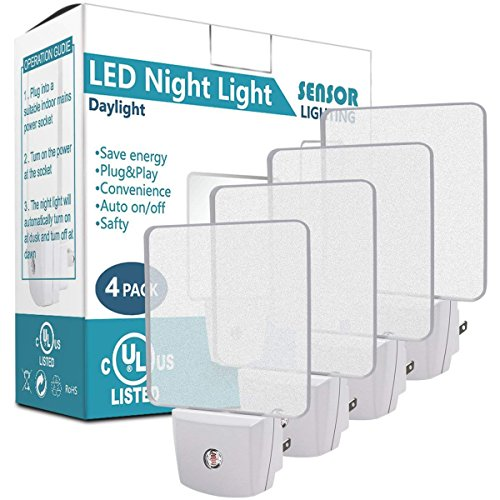 LED Night Light with Smart Light Sensor, Costech UL Listed Plug in Cordless Wall Light with Daylight Auto Sensor On/Off Dusk to Dawn for Bedroom, Bathroom, Hallway, Stairway, Kitchen (4 Pack)