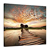 """walk in shower pictures Seascape Artworks Wall decor Pictures - Ocean Pier in sunset stunning with Yellowish cloud Beach Sky and Wooden Bridge to Sea Shower, Dock Landscape Graphic Art Print on C (24"""" x 18"""", Golden Painting)"""
