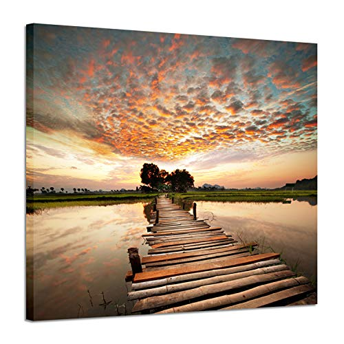 Seascape Artworks Wall decor Pictures - Ocean Pier in sunset stunning with Yellowish cloud Beach Sky and Wooden Bridge to Sea Shower, Dock Landscape Graphic Art Print on C (24