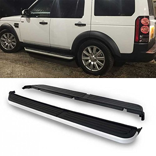 yle Black Aluminum Side Step Nerf Bars Running Boards + Necessary Mounting Hardware For 05-16 Land Rover LR3 LR4 ()