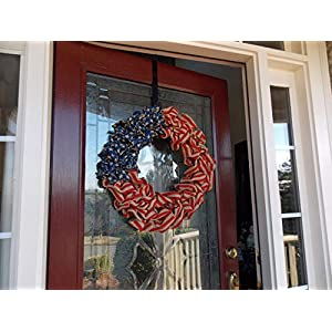 "Patriotic USA American Flag Wreath for Front Door Porch Memorial Day July 4th Veterans Labor Day Indoor Outdoor Summer Americana Home Decor, Burlap, Red White and Blue, Handmade, Choose 20"" or 24"" 5"