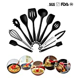 KimGreen Silicone Kitchen Utensils Set, 10 Piece Non-Stick Heat Resistant Cooking Gadgets with Utensils Holder Turner Spoon Spatula Ladle Whisk Spoonula Basting Brush (Black)