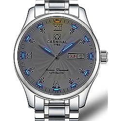Mens MIYOTA 21 Jewels Automatic Movement Blue Tritium Light Transparent Cover Watches White