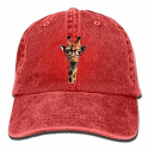 Baseball Cap Hipster Giraffe - Adjustable Trucker Hat Cotton Denim, DanLive Red