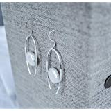 925 Sterling Handmade Earrings with Wire Wrapping and Freshwater Pearl Ezina Designs