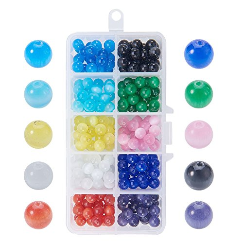 - NBEADS 1 Box 8mm 250 Pcs Cat Eye Glass Beads Natural Gemstone Round Loose Stone Beads for Jewelry Making and Craft