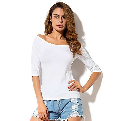 MSHING Womens Casual Half Sleeve Tee Tops Summer Cotton Off Shoulder (Belle Running Costumes)