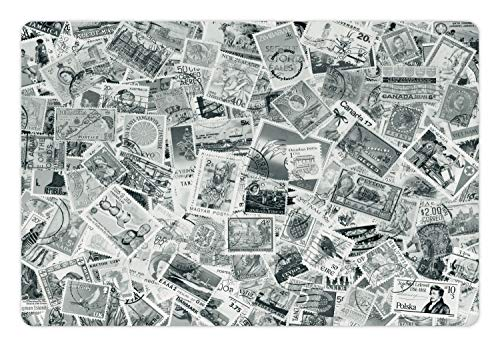 Lunarable Pet Mat for Food and Water, Rectangle Non-Slip Rubber Mat for Dogs and Cats, Vintage Black and White Image of Large World Postage Stamps Travel Hobby Theme Artwork, Grey ()