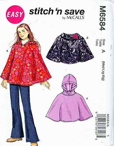 McCall Patterns M65840A0 Girls' Ponchos Sewing Pattern ()