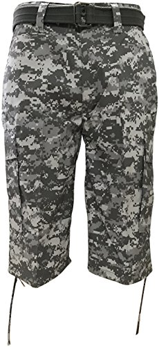 Regal Wear Mens Camouflage Cargo Shorts with Belt, Camo Digital Army, 34