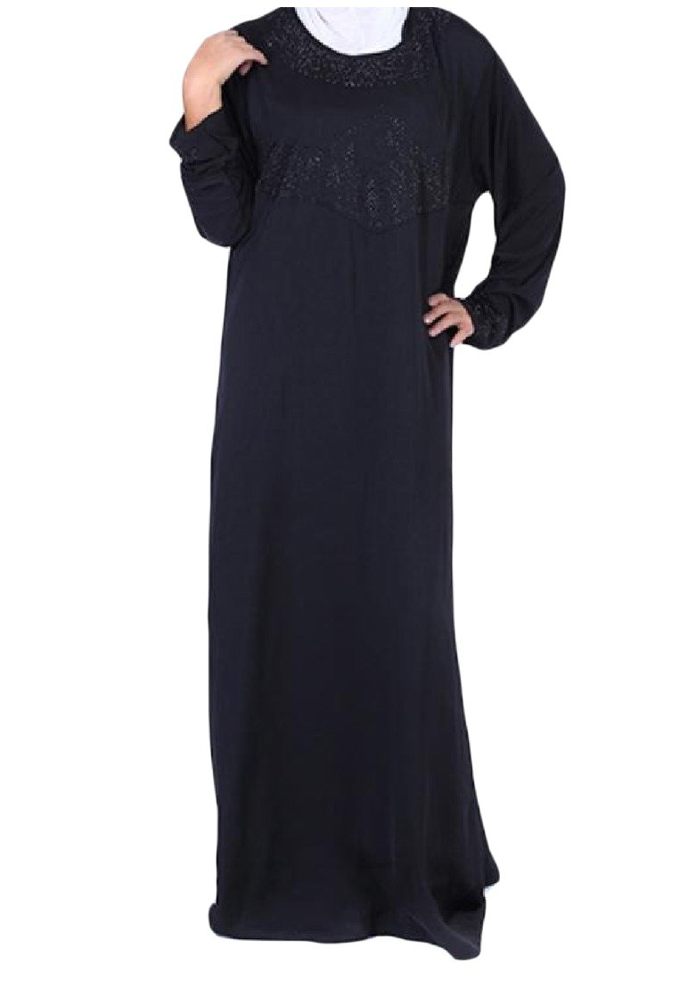Abetteric Womens Islamic Loose Fit Crewneck Solid Colored Muslim Abaya Black XS