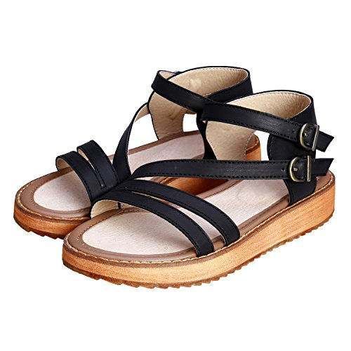 Sandal Cross Strap Black Lady's Roman Sandals Smilun Wedge Double Shoes Toe Gladiator Open Toe Strappy 4qFxTwCE