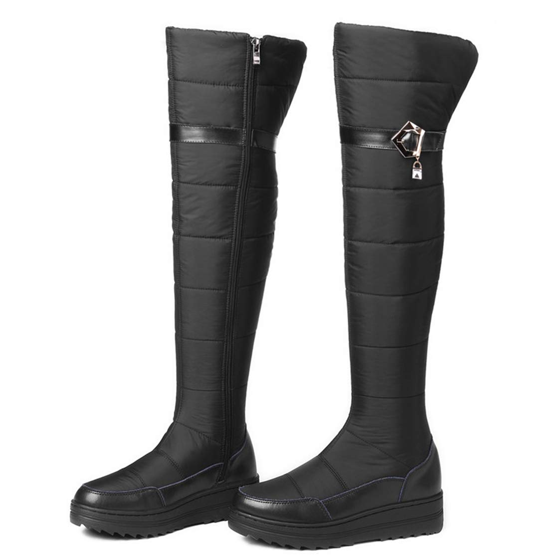 Womens Over Knee High Boots Snow Genuine Leather Thick Fur Warm Down Winter Zip Platform Boots