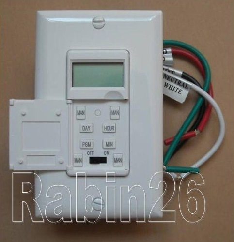 Heavy Duty 7 Days Digital LED Light in Wall Programmable Timer Switch and Cover Plate - WHITE