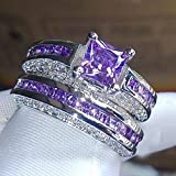 Princess Luxury platinum Plated Amethyst & CZ Gemstones Zircon Wedding Set Rings LOVE STORY (6)