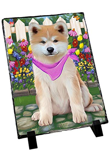 Slate Akita (Doggie of the Day Spring Floral Akita Dog Photo Slate SLT52224)