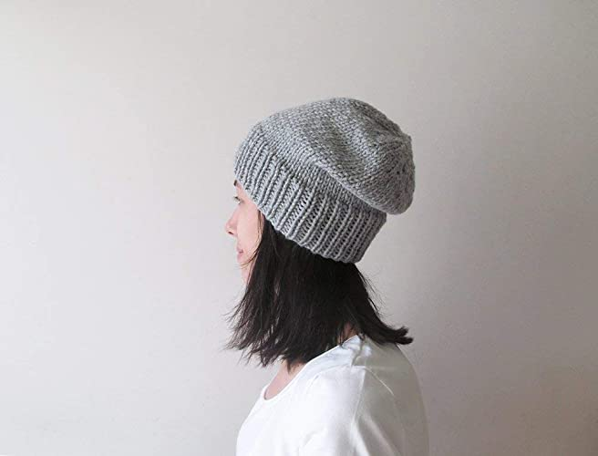 4d5f16259 Silver Grey Slouchy Beanie, Gray Knit Chunky Slouch Hat, Women Knit ...