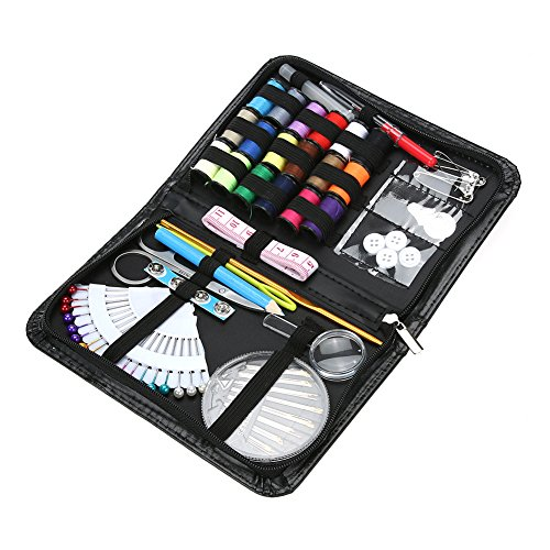 Price comparison product image UltimaFio(TM) 91Pcs Multifunctional Sewing Box Kit Set for Quilting Hand Sewing Stitching Travel Household Sewing Kits PU Leather Case