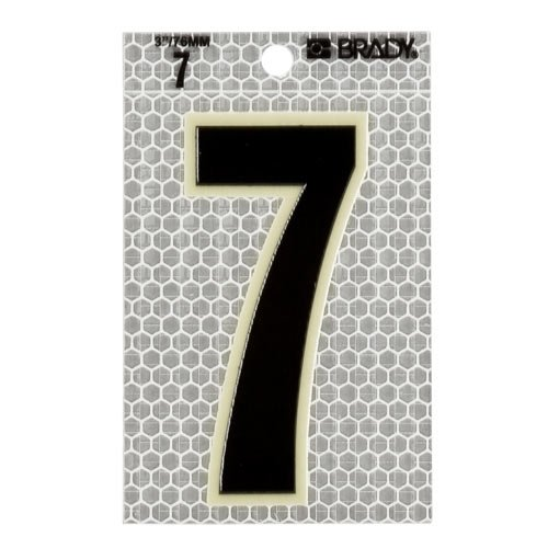 Brady 3010-7, 52257 Glow-In-The-Dark/Ultra Reflective Number - 8, 12 Packs of 10 pcs