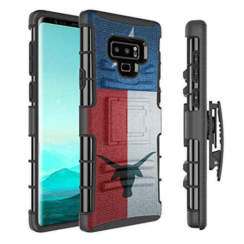 Capsule Case Compatible with Samsung Galaxy Note 9 (2018) [Kickstand Holster Combo Heavy Duty Protection Case Black] - (TX Texas Flag) ()