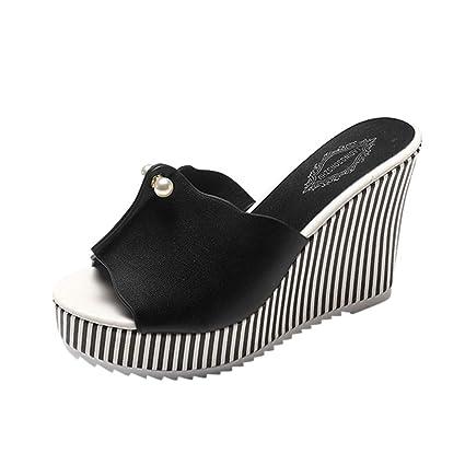 f6e514726be72 Amazon.com: ❤ Mealeaf ❤ Women Stripe Pearl Platform High Heels ...