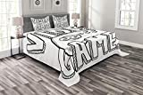 Lunarable Boy's Room Bedspread Set Queen Size, Doodle Style Video Games Typography Design with a Controller Sketch Artwork, Decorative Quilted 3 Piece Coverlet Set with 2 Pillow Shams, Black White