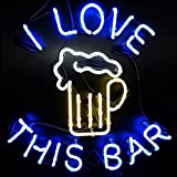I LOVE THIS BAR Neon Art Sign 24×24 inch, Real Glass Neon Signs Custom Designed Neon Open Sign, Perfect Home Decor. Eye-catching Neon Bar Sign.