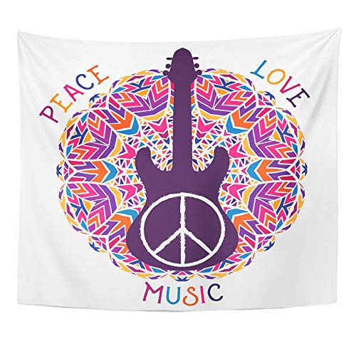 Emvency Tapestry Wall Hanging Polyester Fabric Hippie Peace Symbol Love Music Sign and Guitar on Ornate Colorful Mandala for Bedroom Living Bedspread Room Dorm Decorations 50x60 Inches