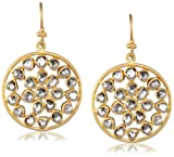 Lauren Harper Collection Milky Way 18k Gold and Rose Cut Diamond Round Earrings