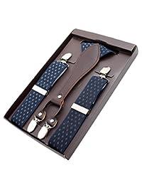 MENDENG Men's Floral Flower Suspenders Leather Adjustable Braces Y-Back 4 Clips