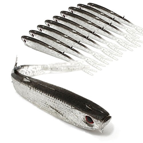 Fishing Lures - Berkley Gulp Alive Minnow Heads Saltwater - Zanlure 9.5cm Soft Silicone Fish Lure Fishing Tiddler Bait Fishing Saltwater - Bucktail Jigs Saltwater - 1PCs (Bass Chrome Bait)