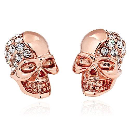 ELBLUVF Alloy Rose Gold Plated CZ Skull Rhinestone Studs Earrings