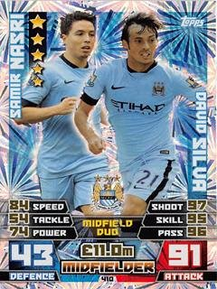 Match Attax 2014/2015 Samir Nasri / David Silva 14/15 Duo Card Topps
