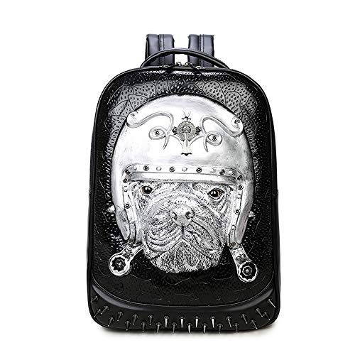 WWGG Backpack 3D Animal Pattern Computer Backpack pu Rivet Creative Dog Bag European and American Men and Women,Silver