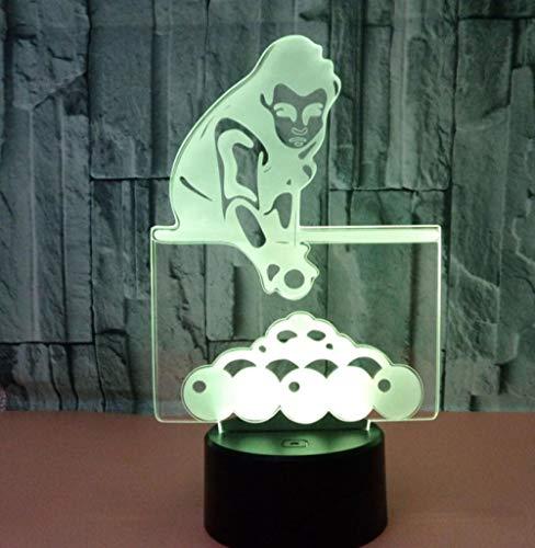 Base negra tactil luz de noche jugando billar 3D colorido control remoto luz de noche Luz de noche usb Luz de regalo de regalo luz de noche lampara de mesilla atmosfera visual lampara de mesa